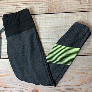 Oiselle grey running tights green accent mid calf